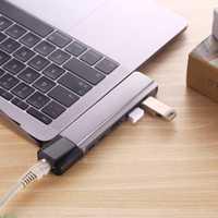 Dual TYPE-C 6 en 1 HDMI RJ45 NIC Macbook PRO aire estación de acoplamiento, Multi-función dual tipo-C hub