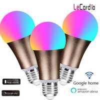3 piezas WiFi inteligente bombilla led lámpara 7 W RGB luz mágica bombilla E27 regulable despertar luces compatible con Alexa Asistente de Google