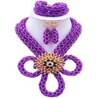 ACZUV Púrpura Perlas de Boda Africanos Nigerianos BZHX-006 Moldeado Nupcial Sistemas de La Joyería para Las Mujeres