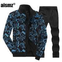Aismz alta calidad Casual 2 unidades Set Mens primavera otoño sudadera Hoodies + Pantalones más tamaño 8XL trajes deportivos Tracksuits hombre