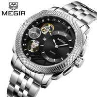 Reloj de cuarzo de lujo de marca MEGIR, banda de acero inoxidable, relojes de negocios de moda para hombre, reloj de ocio, reloj Masculino