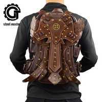 Steampunk mochila de moda Vintage gótico Retro Rock bolsas de cuero de la PU bolsa de Punk mujer marrón desmontable ala mochilas