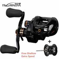 TSURINOYA Hurricane Fishing Baitcasting Reel Speed Ratio 6,4: 1 Shallow Deep Double Metal Spools Saltwater Bait Casting Reel