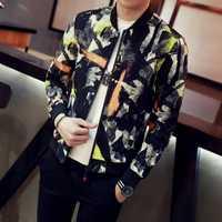 Chaquetas de 12 colores para hombre otoño nuevo cuello de soporte Floral bombardero chaqueta ajustada Fit manga larga Casual camuflaje abrigos hombres rompevientos