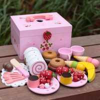 Juguetes para bebés, tarta de simulación de fresa/juego de té de la tarde, juego de corte, juego de cocina, Comida, Juguetes de madera, regalo de cumpleaños para niños