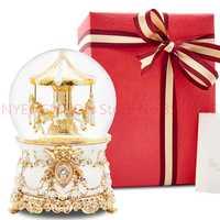 Caja de música de bola de cristal carrusel enviar a las niñas y los niños regalos de cumpleaños nieve creativas 5 piezas