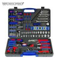 WORKPRO 139 Unid casa herramientas hogar conjunto de herramientas destornilladores Juego de alicates tomas llave