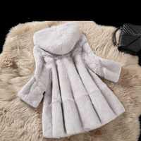 Abrigo de piel de conejo real abrigo de invierno para mujer una línea suelta abrigos de piel natural con capucha 2019 otoño