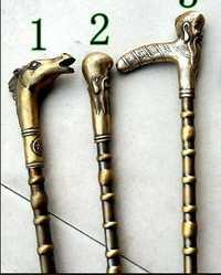Cobre bastón muletas líder paloma palo caballo antiguo muletas de cumpleaños tallas de animales ratón estatua Cane Head Walking stick