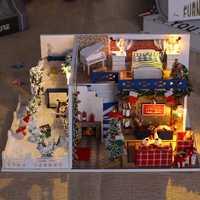 DIY Casa de muñecas minatura Casa de muñecas Casa de madera modelo con muebles Kits de construcción juguetes de regalo de Navidad para niños adultos K026 # E