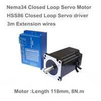 Nema34 L-118mm cerrado Servo Motor 6A cerrado 8N. m & HSS86 8A híbrido servo controlador CNC Kit para 3D impresora