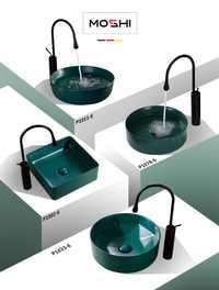 Simple bajo llave Cuenca del arte verde mate de cerámica cuadrados circulares handbasin de encimera lavabo cuarto de baño se hunde contra cuenca
