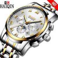 HAIQIN montre homme Automatique mécanique De Luxe Bussiness Phase de Lune Montres Étanche en acier Plein montre-bracelet Homme horloge calendrier