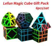 6 pièces/ensemble Lefun Cube magique Mastermorphix + SQ-1 + Megamin + bloc miroir + pyramine + écheveau autocollant noir Puzzle Cube carré 1