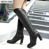 NEMAONE botas de nieve de invierno para mujer botas de lana interior de caballero botas de tacón alto hasta la rodilla con cremallera tamaño grande 43