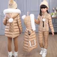 Russie hiver filles vêtements ensembles à capuche chaud gilet veste + pull à capuche coton pantalon 3 pièces ensemble fille coton manteau avec capuche de fourrure