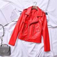 2019 primavera otoño chaqueta de cuero de mujeres, rojo, negro, motocicleta PU Chaqueta corta de corte Slim de cuero abrigo básico prendas r821