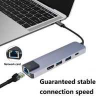 SUPER 5 en 1 USB tipo-C HDMI 4 K Gigabit Ethernet Rj45 adaptador para MacBook pro