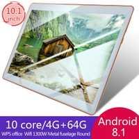 10.1 pouces pour Android 8.1 tablette en plastique PC 4GB + 64GB dix-Core WIFI tablette 13.0MP caméra