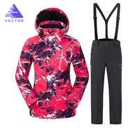 VECTOR de marca traje de esquí traje de las mujeres caliente impermeable esquí trajes damas de deporte al aire libre abrigos de invierno Snowboard nieve chaquetas y pantalones