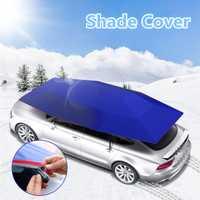 Paraguas del coche sol sombra cubierta al aire libre del vehículo coche de la tienda de la tela de Oxford de poliéster cubre 400x210 cm/azul/plata
