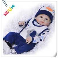 23 pulgadas bebé realista Reborn cuerpo completo silicona vinilo Reborn bebés muñecas 57 cm muñeca realista recién nacido Niño niños día regalos