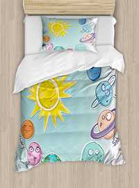 Espacio edredón historieta Linda Sol y planetas del Sistema Solar diversión Celestial Carta del bebé niños Nursery Tema 4 piezas Juego de cama