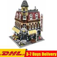 DHL Compatible Legoingly Creators 10182 Cafe Corner Model Building Kits bloques niños DIY juguete educativo regalo del Día de los niños