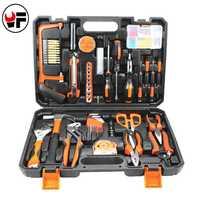 102 unids/set hogar Kit de herramienta para coche Auto reparación mano caja de Herramientas para el trabajo de vi destornillador alicates Herramientas