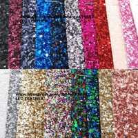 90x134 cm Pieles sintéticas Faux cuero Telas Glitter cuero Big Glitter multi-colores brillo cuero para Costura arco DIY p744