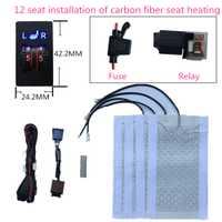 2 asientos instalado calentador de asiento de coche cuadrado 2 dial 5 interruptor de nivel elementos calefactor asiento de fibra de carbono cojín calefactor asiento kit