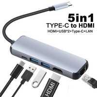 5 En 1 USB tipo C Hub USB Hdmi C a Gigabit Ethernet Rj45 Lan adaptador para el Macbook Pro puerto de cargador Thunderbolt 3 USB-C