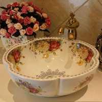 Envío Gratis Rosa flor cerámica encimera lavabo Baño