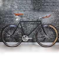 Bicicleta de carretera más nuevo diseño fija BikeDiy completa bicicleta de carretera, marco negro Retro chapado frameType 700C bicicleta 52 cm marco