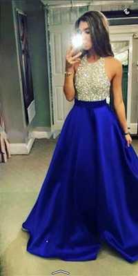 En 2016, el nuevo modelo sexy azul-azul real collar de perlas sin detrás de una silla YU14 crystal corset vestido DE fiesta vestido