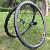 Rueda de carbono de sarga 12 k muy brillante durable 38 50 60 88mm tubular/clincher Ciclocross road bike wheelset freno de disco pegatinas personalizadas