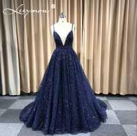 BATA De Soiree brillante vestido De noche Real brillante azul marino Sexy noche fiesta Specail ocasión largos vestidos formales