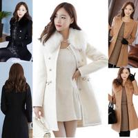 Abrigo largo grueso de piel sintética para mujer abrigo de invierno de lana abrigo Trench Parka caliente Negro Blanco marrón S-2XL
