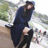 Alta calidad de imitación de visón Cachemira de punto abrigos cardigan abrigos largos mujeres mohair cardigan suelta thicking chaqueta de otoño