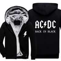 MIDUO 2018 nuevo ACDC sudaderas con capucha gruesas de los hombres de la cremallera chaquetas y abrigos de invierno acdc Unisex espesar chaqueta sudaderas