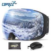 COPOZZ marca magnético gafas de esquí con el caso de doble lente Anti-niebla nieve de esquí gafas UV400 de esquí de las mujeres de los hombres de invierno snowboard 2181