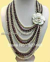 Venta al por mayor envío gratis >> Shell broche Multicolor de arroz perla del FW 9 Rows collar