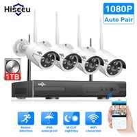 Sans fil CCTV Système 1080 P 1 TO HDD 2MP 4CH NVR IP IR-CUT extérieure CCTV Caméra IP Système de Sécurité vidéo surveillance Kit hiseeu