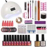 MDSKL Set de manicura con lámpara Kit de uñas 48 W UV lámpara LED para arte de uñas juegos de 10 piezas 10 ml gel UV esmalte de uñas herramientas para manicura