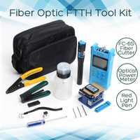 13 unids/set portátil de fibra óptica FTTH Kit de herramientas con FC-6S de fibra Cleaver y medidor de potencia óptica, localizador Visual de fallos de alambre stripper