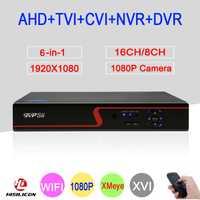 1080 P cámara de vigilancia del Panel rojo Hi3531A 16CH/8CH vmeyesuper de 6 en 1 WIFI Coaxial híbrido Onvif NVR TVI AHD DVR CCTV envío gratis