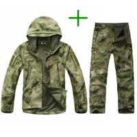 Poco táctico hombres ejército caza senderismo pesca explorar ropa traje de camuflaje de la piel de tiburón impermeable militar con capucha chaqueta con capucha + Pantalones