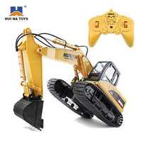 HuiNa 1550 1:14 RC Crawler coche 15 CH 2,4 GHz RC Metal excavadora de carga del coche de RC Aleación de excavadora RTR regalo para los niños adultos