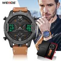 WEIDE hombres deportes reloj analógico manos calendario Digital de cuarzo marrón correa de cuero reloj de pulsera hombre 2019 militar reloj