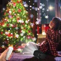 Iluminación de vacaciones de Navidad reflectores 6 LEDs de luz blanca dinámica nevando de copo de nieve de interior al aire libre luces de fiesta/AU/EU/US/enchufe de Reino Unido